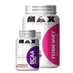 Combo (1 Whey Protein FEMINI WHEY 900grs Max Titanium + 1 Aminoácido BCAA 2400 Max Titanium 100 Cáps