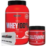 Combo 100% Whey Morango + Glutamina + Porta Caps - Integralmédica