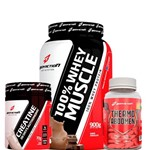 Combo 100% Whey Muscle 900g + Thermo Abdomem 120tabs + Creatina 20days 70g - Body Action - Chocolate