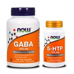 Combo 5-htp 100mg 60 Caps + Gaba 500mg 100 Caps Now Foods