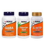 Combo 5-htp 100mg + Gaba 500mg + Valeriana 500mg Now Foods