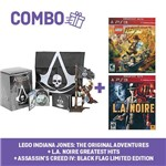 Combo: Assassin's Creed Iv: Black Flag Limited Edt + L.a Noire + Lego Indiana Jones 2 - Ps3
