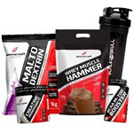 Kit Whey Isolado Concentrado Refil 900g + Malto + Bcaa + Creatina