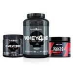 Combo Creatine Caveira Preta 150g + Pote Whey 4hd 907g Black Skull + Gluta Force Pro Star 300g Chocolate