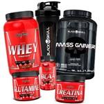 Kit de Suplementos Whey Protein Hipercalorico Bcaa Creatina Glutamina
