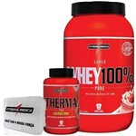 Combo Definição 100% Whey Morango + Therma Pro + Porta Caps - Integralmédica