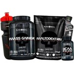 Combo Ganho Aumento Peso Massa - Hiper Calórico + Maltodextrina + Bcaa + Squeeze - Black Skull