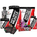 Combo Ganho Massa Muscular Magra - 100% Whey Wey Way Puro + Creatina + Bcaa + Malto + Coqueteleira