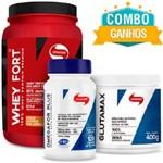 Combo Ganhos Vitafor - Whey Fort 900g + Glutamax 400g + Ômega For 120 Cápsulas