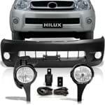 Combo Hilux Srv 2005 a 2008 Parachoque com Furo + Kit Farol de Milha Auxiliar Botão Modelo