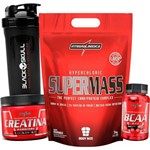 Combo Kit Hipercalorico Super Massa 3kg + Bcaa 2 1 1 + Creatina Integralmedica