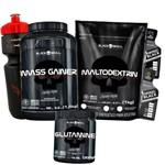 Combo Suplementos Black Skull Importado - Massa Gainer + Maltodextrina + Glutamina - Caveira Preta