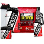 Combo Suplementos Whey Wey 100% Muscle Concentrado + Albumina + Bcaa + Creatina + Coqueteleira