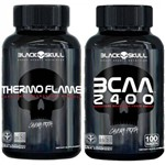 Combo Thermo Flame 120 Capsulas + 1 Bcaa 2400 - Black Skull
