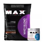 Combo Whey Blend Baunilha (2kg) + L-glutamina (300g) - Max Titanium