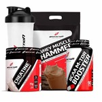 Combo Whey Hammer Chocolate 1.8kg Creatina 20days Bcaa M-tor Booster Bodyaction