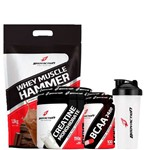 Combo Whey Muscle Hammer 1,8kg + Creatina 150g + Bcaa 100 Caps + Coq. - Body Action - Chocolate