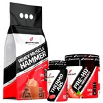 Combo: Whey Muscle Hammer (1,8kg) + Thermo Abdomen (60 Comp) + Pre-HD Pre-Workout(100g) - BodyAction