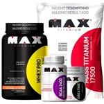 Combo: Whey Pro (1kg) + Mass Titanium (3kg) + Creatina (150g) + Bcaa 2400 (100 Caps) - Max Titanium