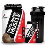 Kit Suplementos Whey Protein 100% 900g + Zma Testoterona + Coqueteleira