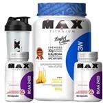 Combo Whey Protein Top Whey Suco Laranja Bcaa 2400 120caps +shaker Max Titanium