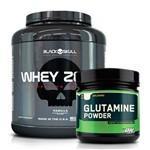 Combo: Whey Zero - 2kg - Black Skull + Glutamina Powder - 600g - Optimum Nutrition
