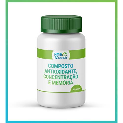 Composto Antioxidante, Concentração e Memória Cápsulas Vegan 30 Cápsulas