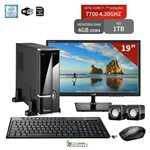 "Computador com Monitor 19"" Lg Intel Core I7 7700 4Gb 1Tb Wifi 3Green Triumph Fortress Desktop"