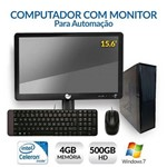 Computador com Monitor para Automação, Intel Dual Core, 4GB, HD 500, Windows 7