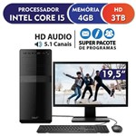 Computador EasyPC Standard Intel Core I5 4GB HD 3TB HDMI USB 3.0 Monitor LED 19.5