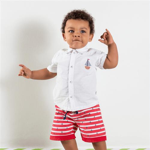 Conj. Camisa e Short Avulso Branco e Vermelho/6 a 9 M