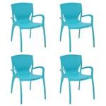 Conjunto 4 Cadeiras Tramontina Clarice Azul 92040070