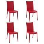 Conjunto 4 Cadeiras Tramontina Laura Ratan Vermelho 92032040