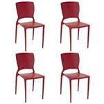 Conjunto 4 Cadeiras Tramontina Safira Vermelho 92048040