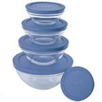 Conjunto 5 Potes de Vidro 3008 com Tampa Azul