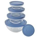 Conjunto 5 Potes de Vidro Redondos Tampa Azul Euro