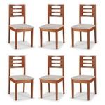 Conjunto 6 Cadeiras de Jantar Daisy Pinhão - ID Madeiras