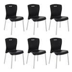 Conjunto 6 Cadeiras Tramontina Mona Preto 92050009