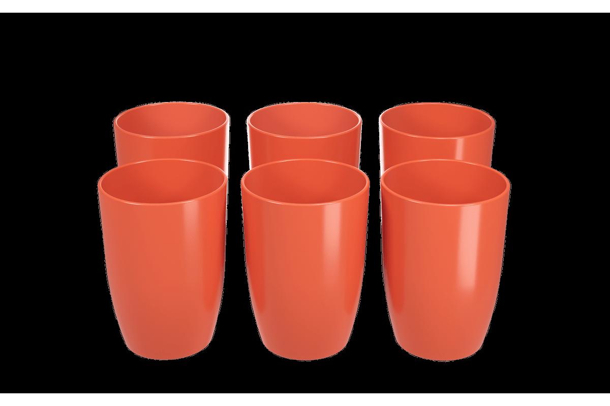 Conjunto 6 Copos Cozy 275 ML 7,4 X 7,4 X 10,2 Cm Tangerina Coza