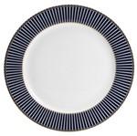 Conjunto 6 Pratos de Jantar de Porcelana Alto Relevo Cobalto com Dourado