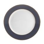 Conjunto 6 Pratos de Sobremesa de Porcelana Alto Relevo Cobalto com Dourado