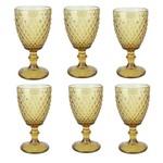 Conjunto 6 Taças Água de Vidro Bico de Abacaxi 260 Ml - Ambar