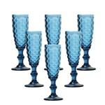 Conjunto 6 Taças Bico de Abacaxi para Champagne Azul