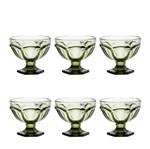 Conjunto 6 Taças para Sorvete de Vidro Sodo-Cálcico Borboleta Verde 260ml