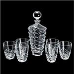 Conjunto 7 Peças Whisky de Vidro Sodo-Cálcico com Titânio Wave 1 Garrafa 750ml e 6 Copos 280ml