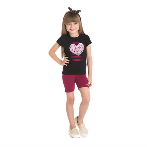 Conjunto Abrange Infantil Coração Preto e Pink 04