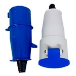 Conjunto Acoplador + Plug Macho Steck 2P+T 32a Azul Newkon