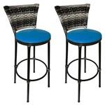 Conjunto 2 Banquetas Eleganza Junco Degrade Assento Azul - Itagold