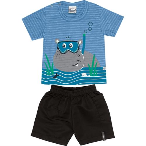 Conjunto Bebê Abrange Hipopótamo Azul e Preto BG