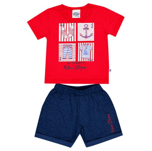 Conjunto Bebê Abrange Navy Vermelho e Azul Marinho BP